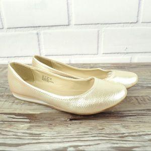 Soft Styles 7 gold metallic ballet flats wedges